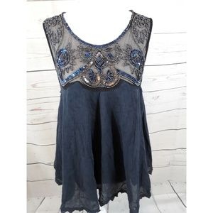 Free People Sequins and Beaded Top Large